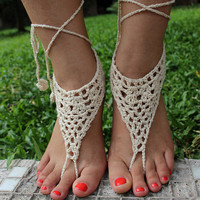 Handmade Hollow Out Crochet Barefoot Sandals ,Nude shoes, Foot jewelry, Wedding, Victorian Lace, Sexy Lace, Yoga, Anklet , Bellydance,Steampunk, Summer Beach Pool,Ethnic,Gift-26