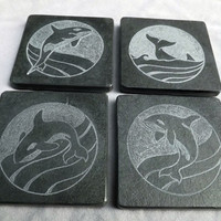 "Natural stone, black Slate coaster set, Hand engraved unique design, Orca Killer whales in different positions, set of 4 pieces, 4"" x 4"""