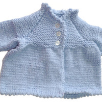 Baby Hand knitted blue cardigan / top with picot edging, chest approx 19.5 inch or 50cm baby boy or girl newborn