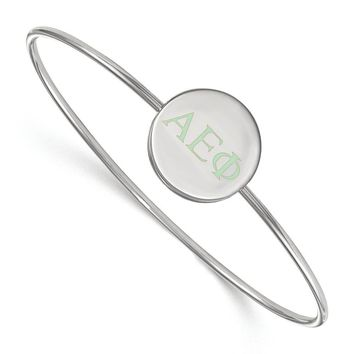 Sterling Silver Alpha Epsilon Phi Enamel Bangle - 6 in.