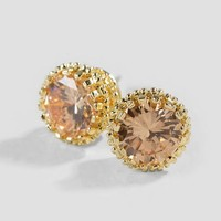 Beatrice Cubic Zirconia Stud Earrings in Champagne
