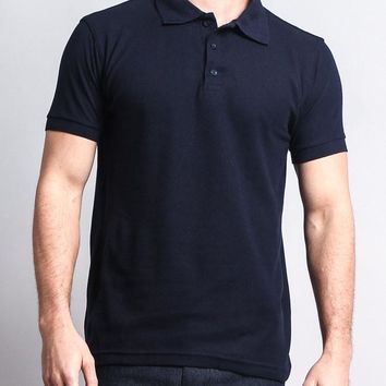Men's Solid Color Carded Pique Polo Shirt