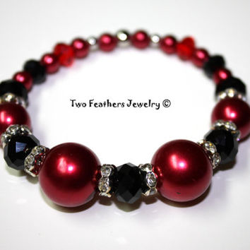 Red And Black Bracelet - Stretch Bracelet - Beaded Bracelet - Glass Pearl Bracelet - Rhinestone Beads - Gift For Her