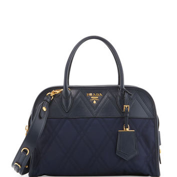 Prada Quilted Tessuto Satchel Bag, Baltico