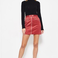 Strike A Cord Mini Skirt in Marsala