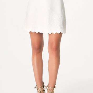 bebe Womens Embossed Scallop Hem Skirt White