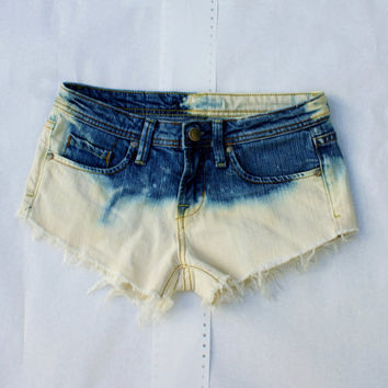 Size 1 Ombre Cut-Off Denim Short Shorts Distresses w/ Tribal Pocket Upcycled Ready to ship