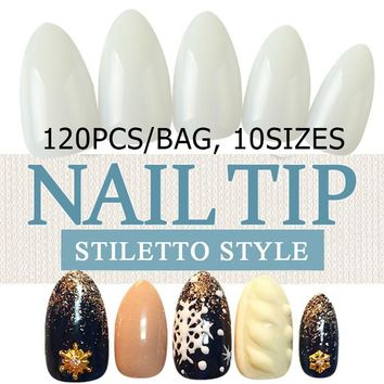 1bags/lot 120Pcs natural Stiletto Full Cover False Nail Manicure Sharp Water Drop Acrylic Fake Nail Art Tips