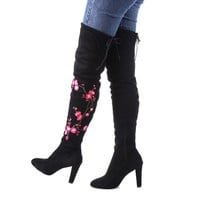 Embroidered floral over the knee plush lined suede high-heel boots