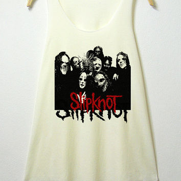 Slipknot tank top , women tank top, off white shirt, screenprint, tunic, clothing tshirt, lady shirt, rock tee, S/M , L/XL size