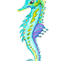 "ORIGINAL Watercolor, Seahorse Painting, 5x7"" matted to 8x10"", colorful seahorse, Beach art, Ocean theme, tropical"