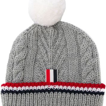Ladies Light Grey Cable Knit Hat by Thom Browne