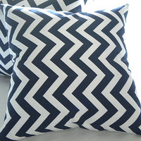 """Navy and white chevron decorative pillow cover 18"""" x 18"""""""