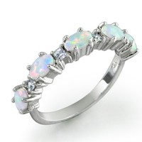 Bling Jewelry Sterling Silver Synthetic White Opal and Clear Stackable Ring