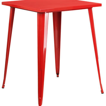 31.5'' Square Bar Height Red Metal Indoor-Outdoor Table