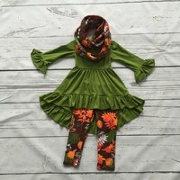 2016 baby girls FALL Winter 3pieces with scarf outfits baby girls floral clothing girls boutique clothes kids floral outfits
