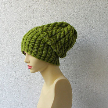 cable knit hat slouchy women / men oversized hat mens slouchy beanie green hat