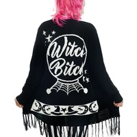 Rat Baby Witch Bitch Over Sized Fringe Black Cardigan Witchy Symbols Spell Book