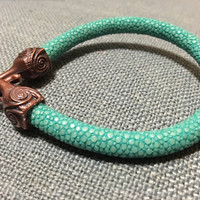 Teal, sea green handcrafted bracelet, bronze hook and eye, s clasp, high quality genuine stingray leather, shimmer,unique gift for her
