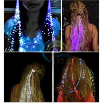 2 pcs LED Light-Emitting Fiber Optic Wire Hairpin Luminous Silk Braids [9325735300]