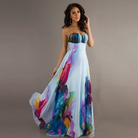 Sexy Wrap Sleeveless Strapless Print Prom Dress One Piece [6337508865]