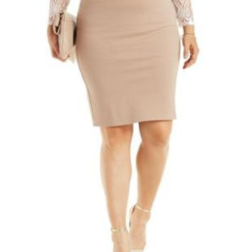 Plus Size Taupe Ponte Knit Pencil Skirt by Charlotte Russe