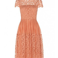 Lace Sleeve Layered Dress