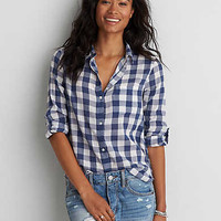 AEO Plaid Boyfriend Shirt , White