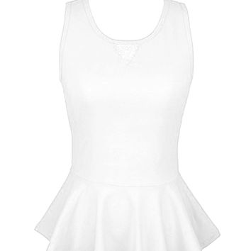 Sleeveless Peplum Top W/ Sheer Lace Back