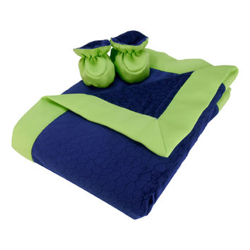 Luxe Gift Set - Navy Blue And Chartreuse Green Mosaic Burnout Velour Blanket And Booties