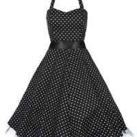 Lindy Bop 'Bonnie' Black Polka Dot Vintage 1950'S Rockabilly Pinup Swing Dress