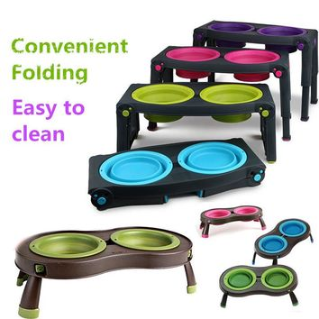 Double Dogs Pet Portable Silicone Travel Bowl Stand  For Dog Food Bowl Foldable Container  Feeder Water Drinking Bottle WWM563