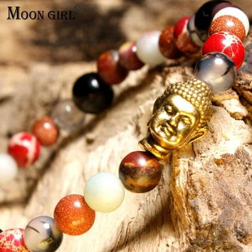 MOON GIRL BuddhistNatural Stone Bracelets for Women Ethnic Vintage Design Meditation Boho Bracelete Masculino Amulet Jewelry