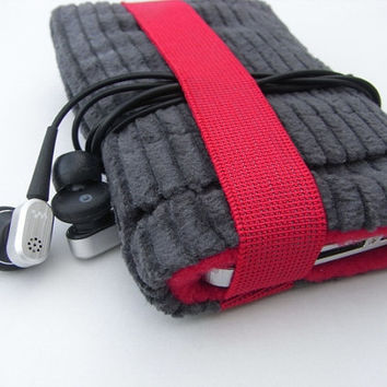 iphone 4 Case / iphone Cover / Gray  Red / Smartphone by pomella