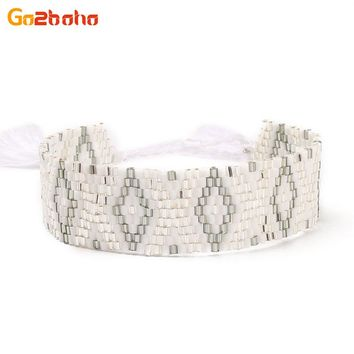 Go2boho New Office Cuff Bracelets Women Woven & Braided Beaded Bracelet Seed Beads Loom Geometric Pattern Bangles Jewelry Bijoux