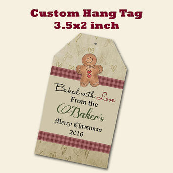 Custom Christmas Gift Primitive Gingerbread Tags Printing  Matte  3.5 x 2 in cards Design services Gift Tags Hang Tags Sales Tags Shop Tags