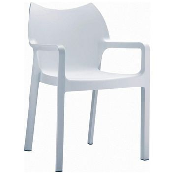 Diva Resin Outdoor Dining Arm Chair White (Set of 4)