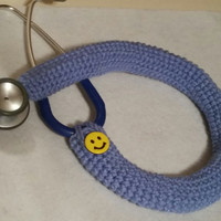 Ceil Blue Smiley Face Stethoscope Cover, crochet  button stethoscope covers, Nurses, RN, LPN, CNA, Medical Assistant, Health Care