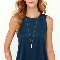 Get Suede Navy Blue Sleeveless Top