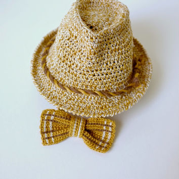 d43c4a40ab3 Baby Toddler Fedora Hat and Bow Tie Set Crochet Summer Hat Cotton Beach  Fedora Unisex Fedora