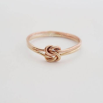 Chunky Double Knot Ring 14k Yellow Rose Gold Filled BFF Ring Love Knot Ring Bridesmaid Ring