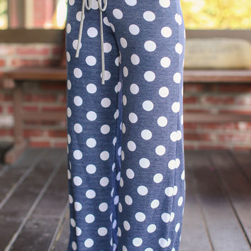 Polka Dot Lounge Pants - Navy