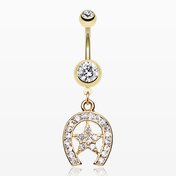 Golden Star Lucky Horseshoe Belly Ring