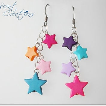 Colorful dangle star earrings, multicolored candy raver jewelry, kandi rave kawaii earrings, cascade drop multicolor star earrings girl gift