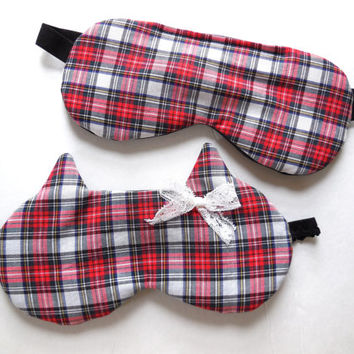 His and Hers Sleep Masks - Black Satin - Eye Mask for Men Women - Mr Mrs Gift - Wedding Anniversary Husband Wife - Red White Plaid Lace Bow