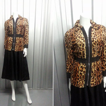 60s Mod Faux Fur Leopard Jacket by Weathergay Cheetah Print Faux Leather Trim Fake Fur 1960s Coat Animal Print Ocelot Faux Fur Twiggy
