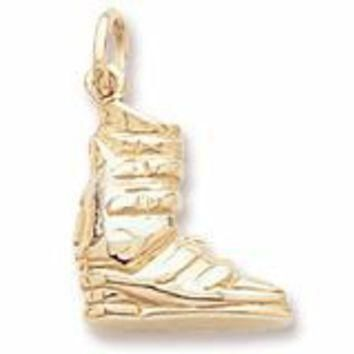 Ski Boot Charm in Yellow Gold Plated