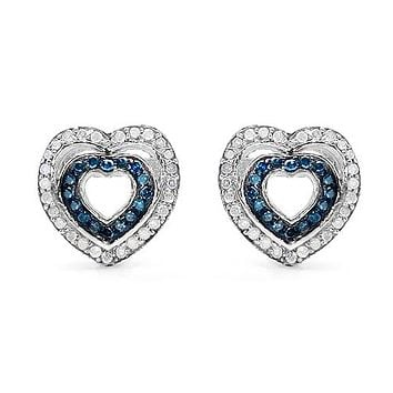 Natural Heart Shape Blue & White Diamond Stud Earrings