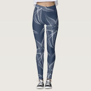 Starfish Navy Blue Beach Leggings
