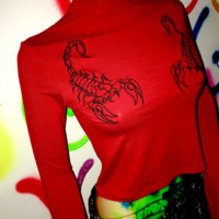 SWEET LORD O'MIGHTY! THE SCORPION TURTLENECK IN RED